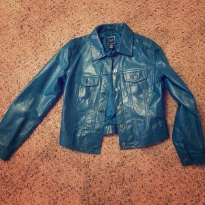 Vintage 90s teal leather jacket